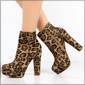 {Express} Leopard Print Heeled Zipper Booties